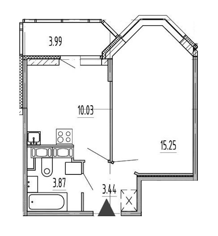 1-комнатная 32 м<sup>2</sup> на 12 этаже
