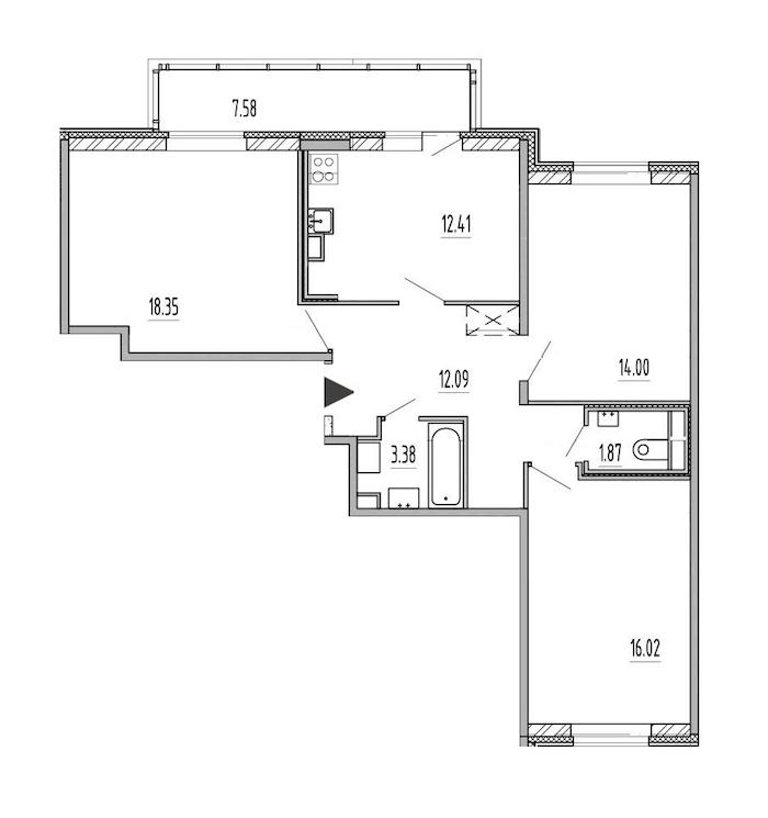 3-комнатная 78 м<sup>2</sup> на 1 этаже