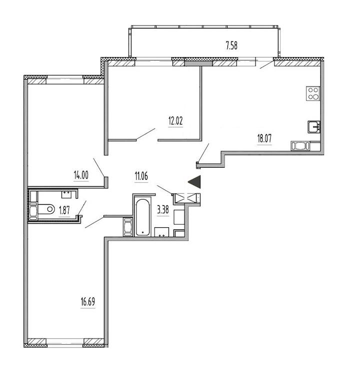 3-комнатная 77 м<sup>2</sup> на 11 этаже