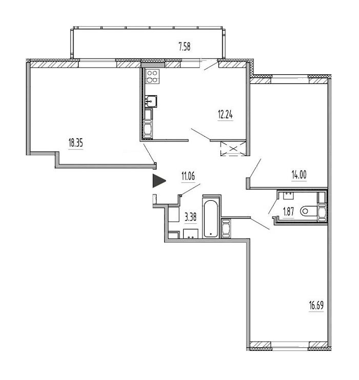 3-комнатная 77 м<sup>2</sup> на 10 этаже