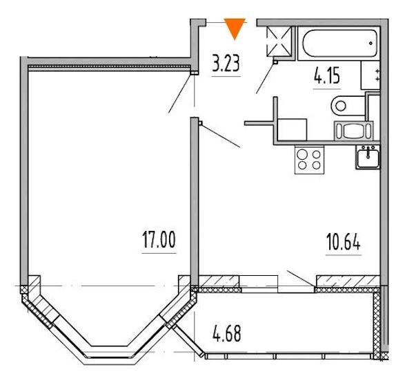 1-комнатная 35 м<sup>2</sup> на 7 этаже