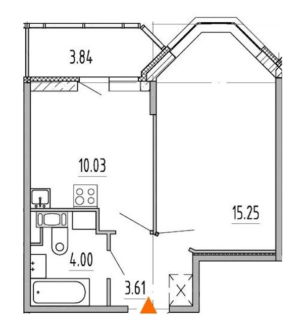 1-комнатная 32 м<sup>2</sup> на 7 этаже