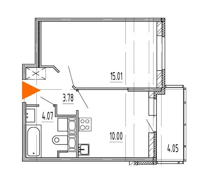 1-комнатная 32 м<sup>2</sup> на 9 этаже