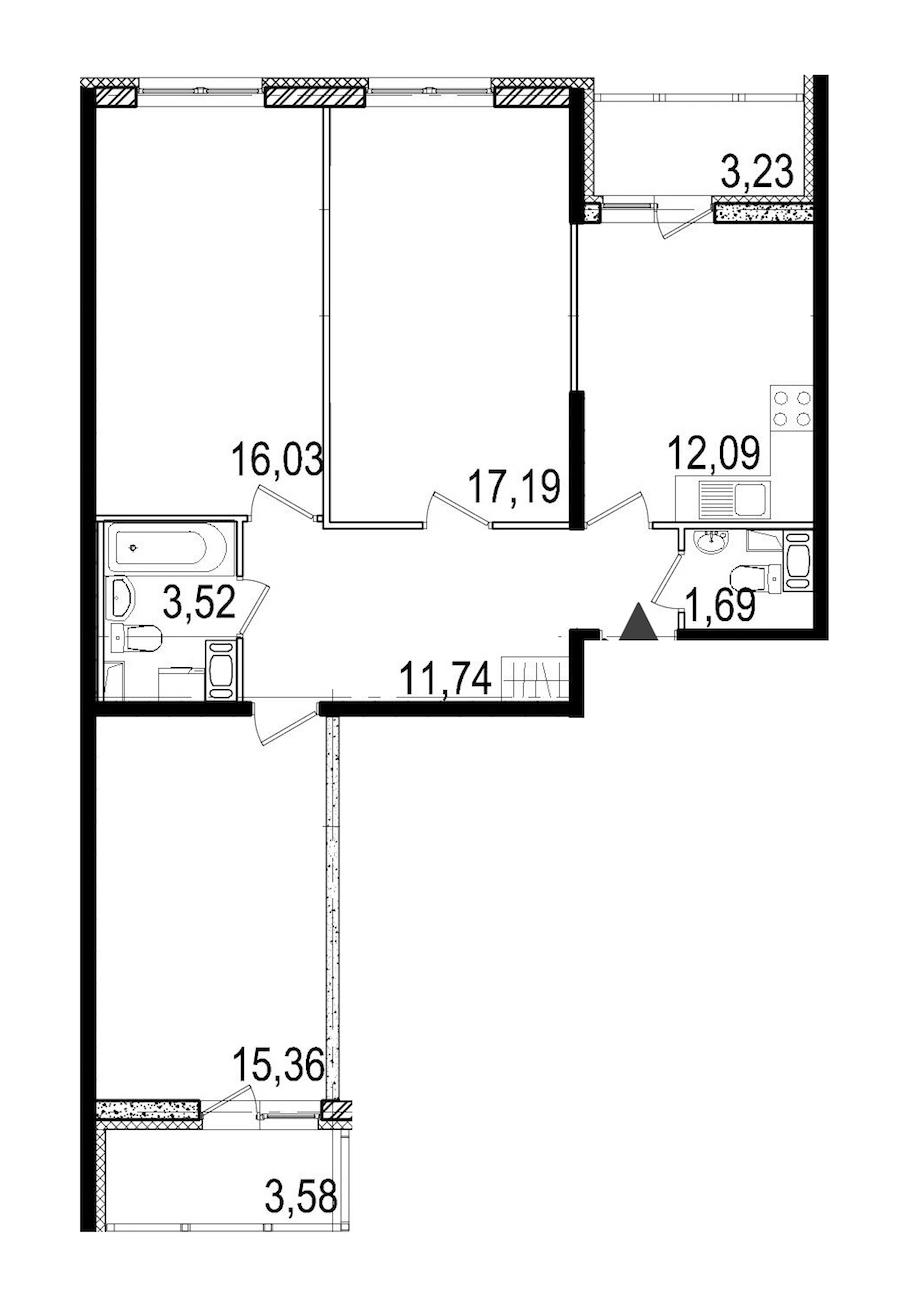 3-комнатная 77 м<sup>2</sup> на 9 этаже