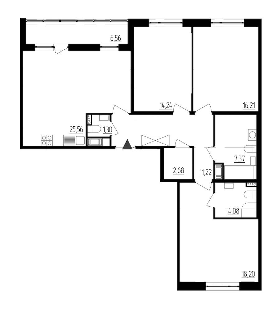3-комнатная 100 м<sup>2</sup> на 7 этаже