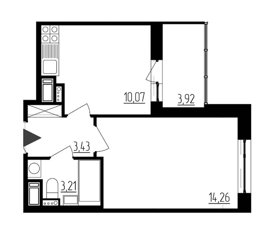 1-комнатная 30 м<sup>2</sup> на 11 этаже