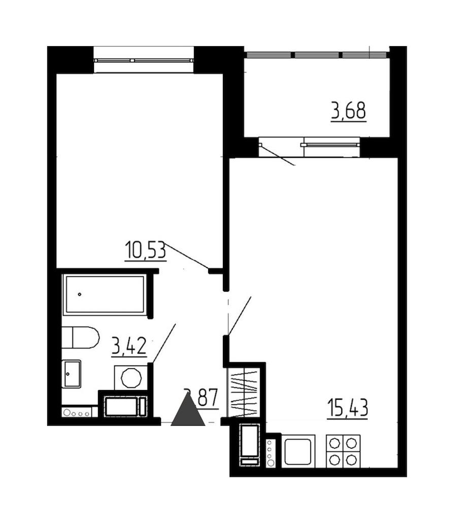 1-комнатная 33 м<sup>2</sup> на 12 этаже