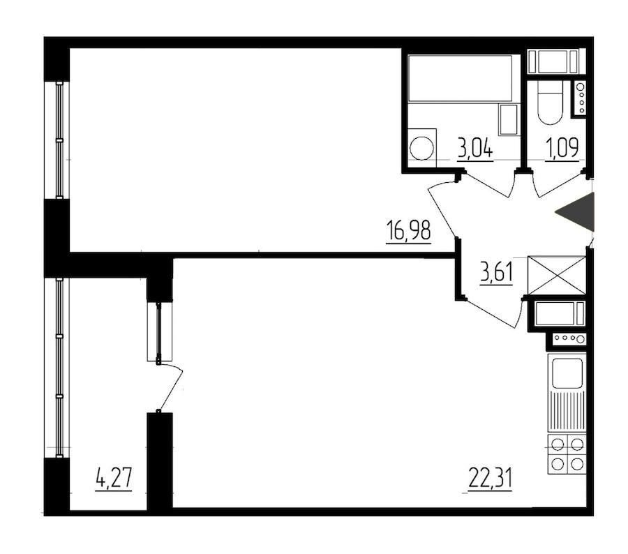 1-комнатная 47 м<sup>2</sup> на 7 этаже