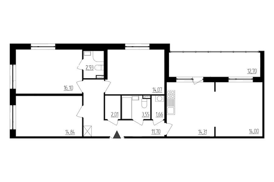 3-комнатная 95 м<sup>2</sup> на 2 этаже