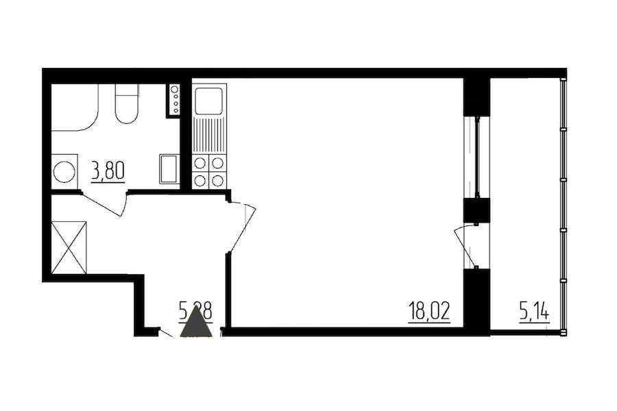 Студия 27 м<sup>2</sup> на 1 этаже
