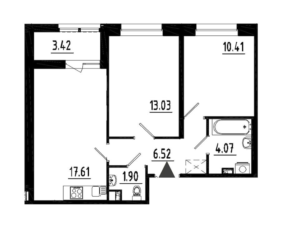 2-комнатная 53 м<sup>2</sup> на 2 этаже