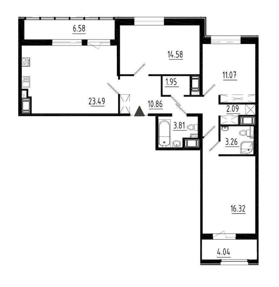 3-комнатная 87 м<sup>2</sup> на 4 этаже