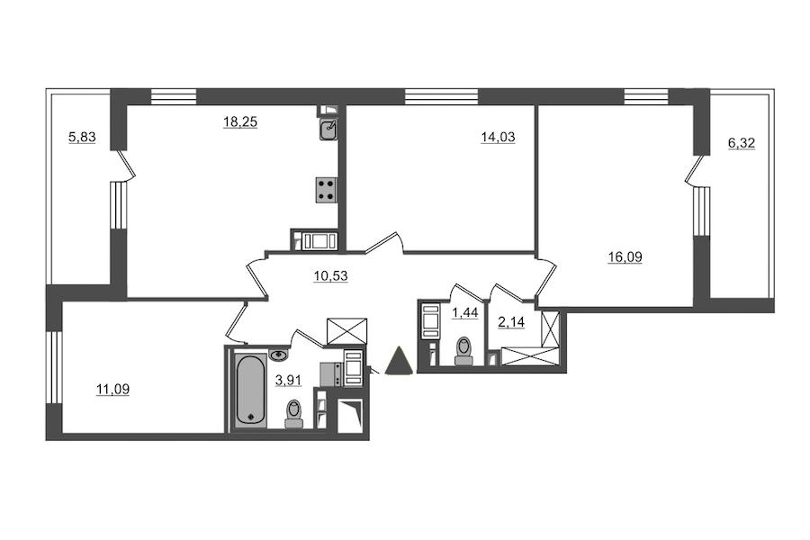 3-комнатная 77 м<sup>2</sup> на 14 этаже