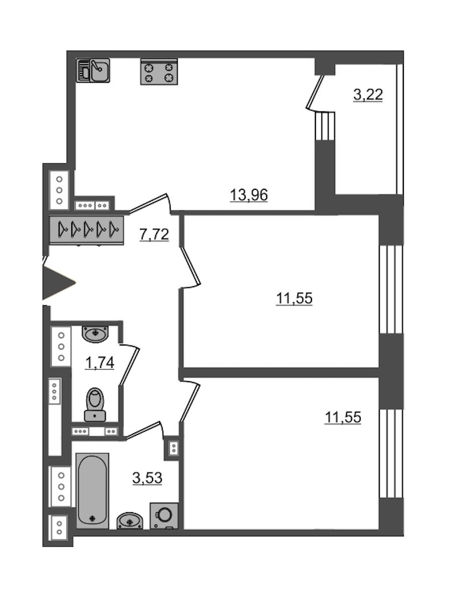 2-комнатная 50 м<sup>2</sup> на 15 этаже