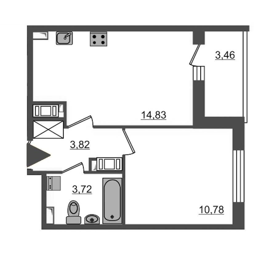 1-комнатная 33 м<sup>2</sup> на 15 этаже