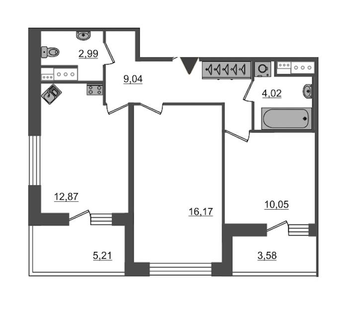 2-комнатная 55 м<sup>2</sup> на 5 этаже