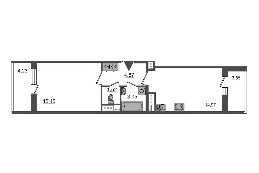 1-комнатная 39 м<sup>2</sup> на 13 этаже