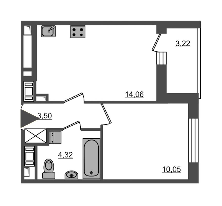 1-комнатная 31 м<sup>2</sup> на 13 этаже