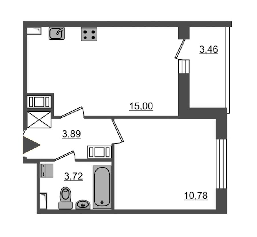 1-комнатная 33 м<sup>2</sup> на 11 этаже