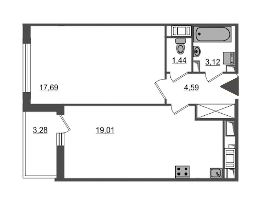 1-комнатная 45 м<sup>2</sup> на 15 этаже