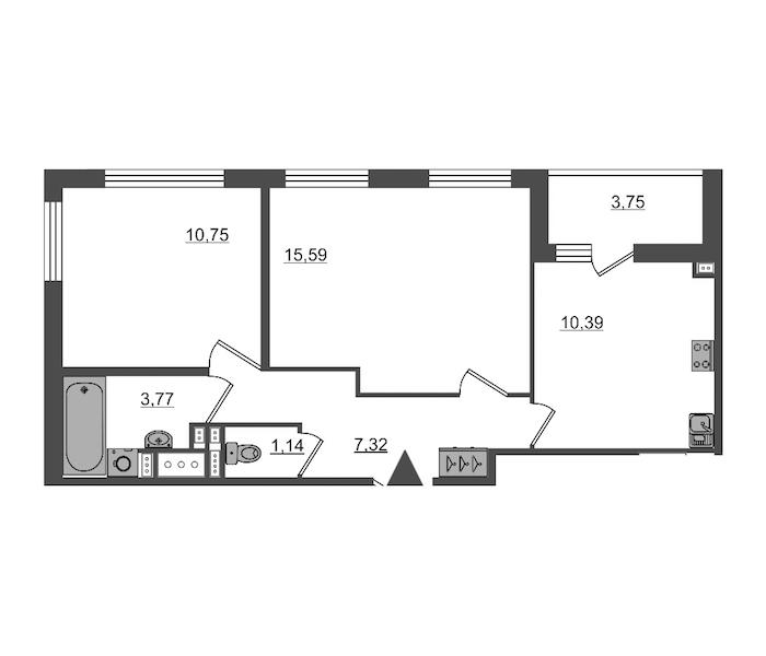 2-комнатная 48 м<sup>2</sup> на 15 этаже