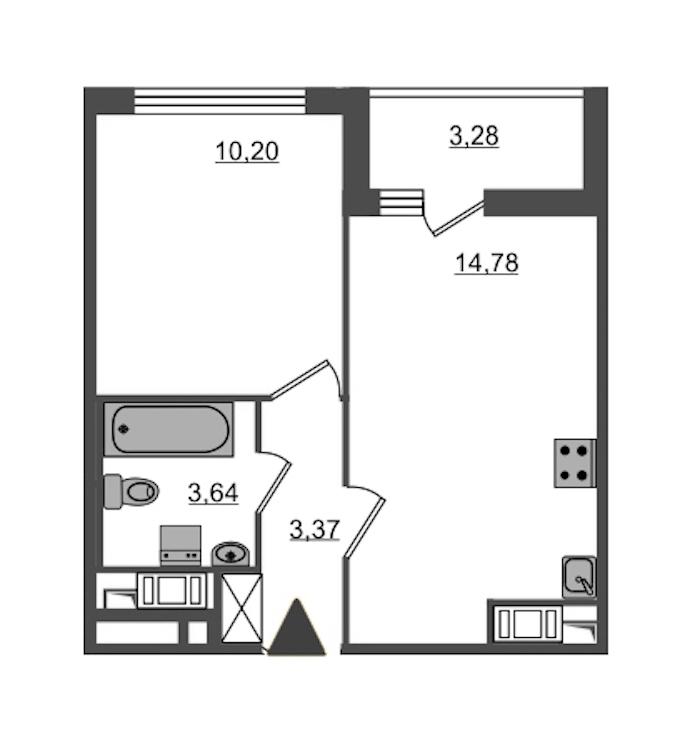 1-комнатная 31 м<sup>2</sup> на 12 этаже