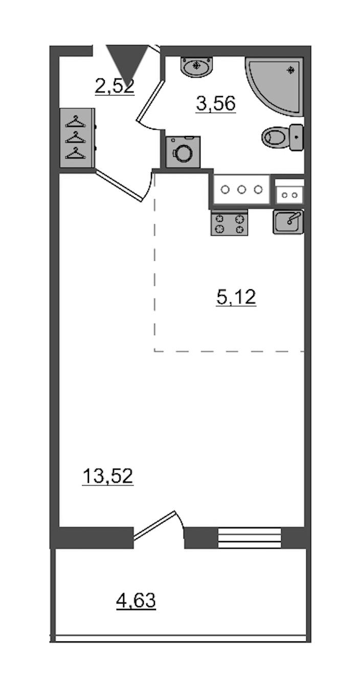 Студия 24 м<sup>2</sup> на 3 этаже