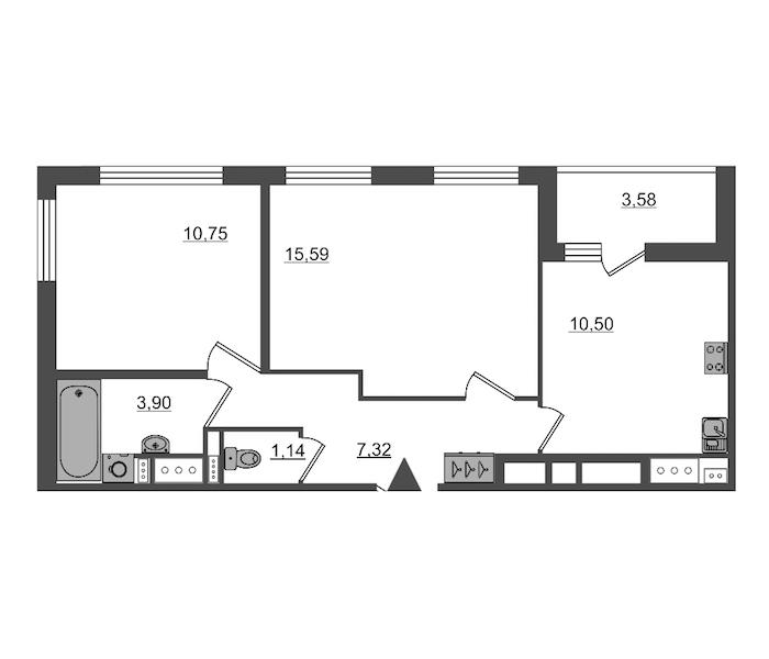2-комнатная 49 м<sup>2</sup> на 5 этаже