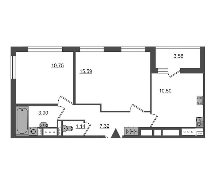 2-комнатная 49 м<sup>2</sup> на 14 этаже