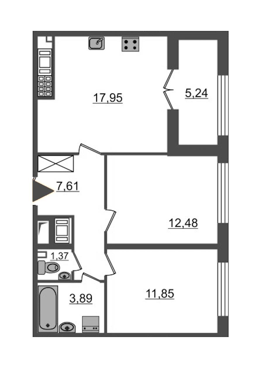 2-комнатная 55 м<sup>2</sup> на 8 этаже