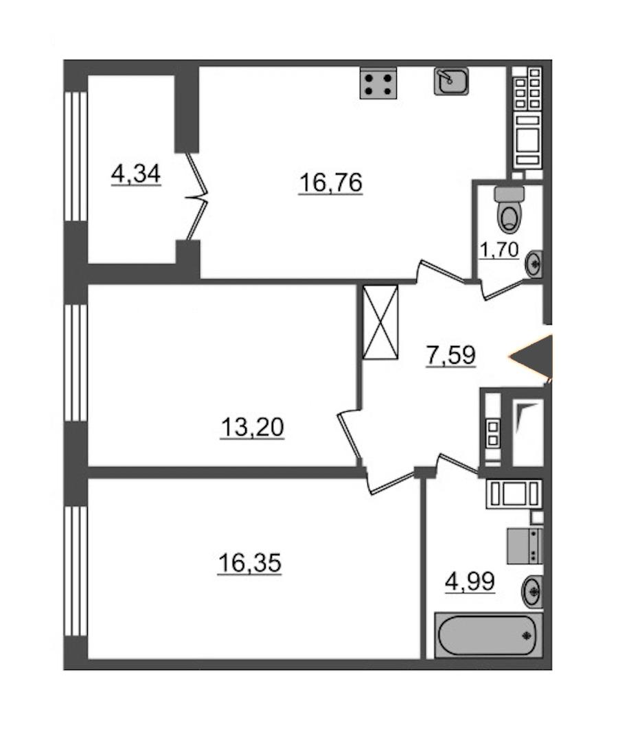 2-комнатная 60 м<sup>2</sup> на 7 этаже