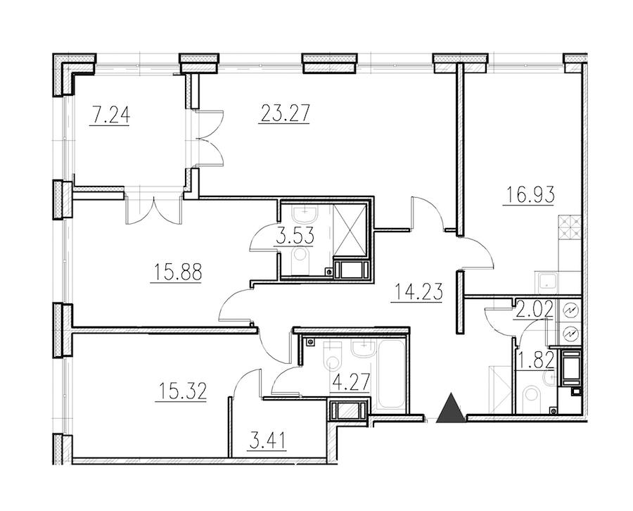 3-комнатная 100 м<sup>2</sup> на 1 этаже