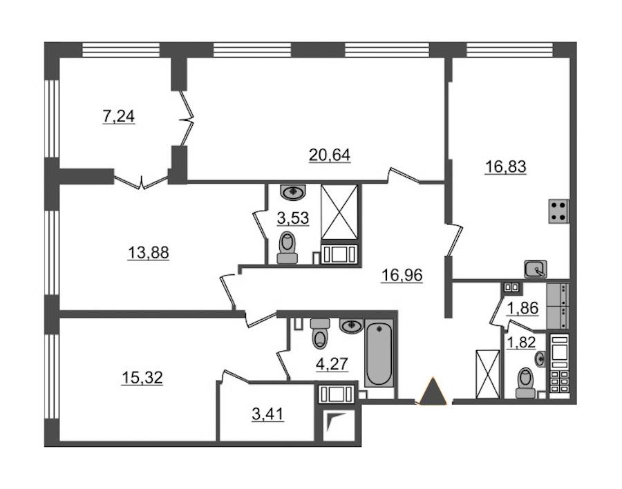 3-комнатная 100 м<sup>2</sup> на 8 этаже