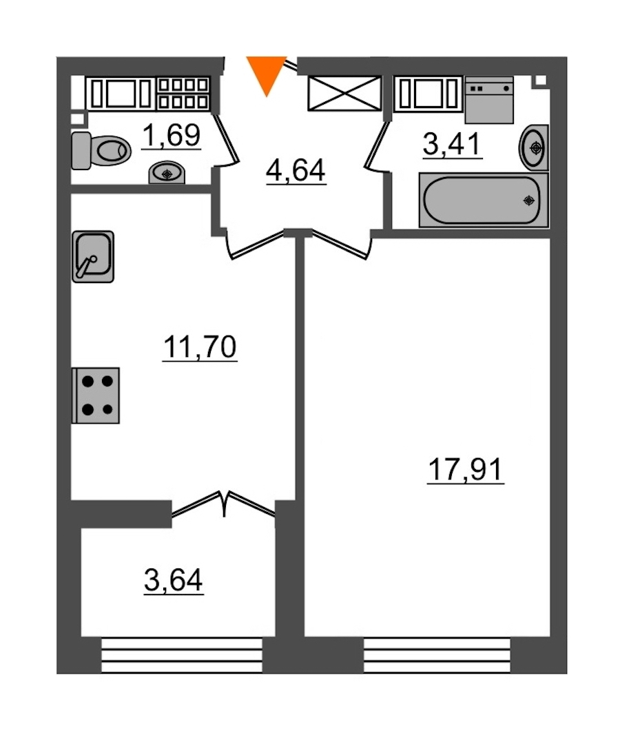 1-комнатная 39 м<sup>2</sup> на 8 этаже
