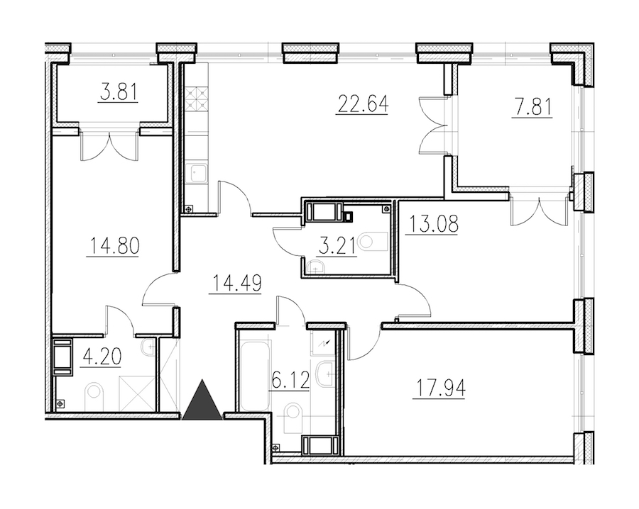 3-комнатная 96 м<sup>2</sup> на 1 этаже