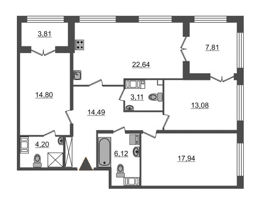 3-комнатная 96 м<sup>2</sup> на 2 этаже