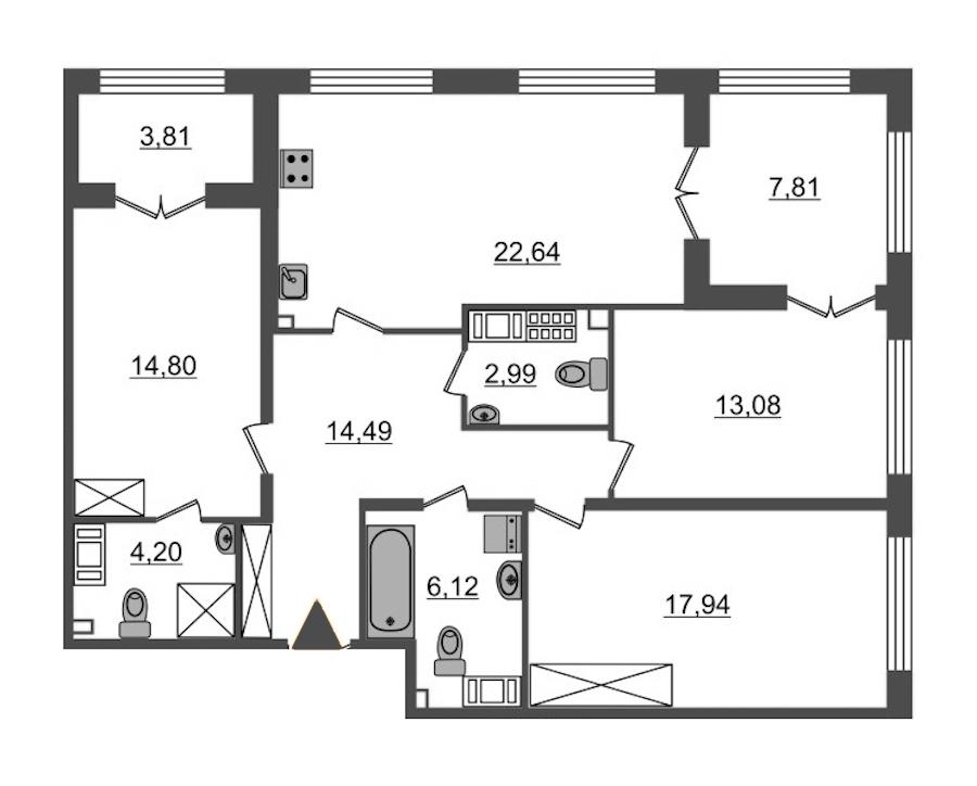 3-комнатная 96 м<sup>2</sup> на 8 этаже
