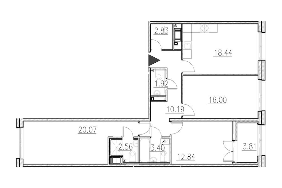 3-комнатная 88 м<sup>2</sup> на 1 этаже