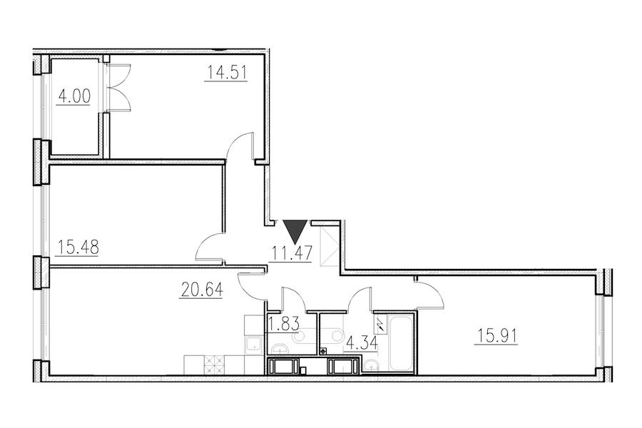 3-комнатная 84 м<sup>2</sup> на 1 этаже