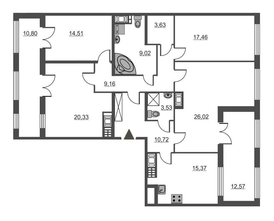 4-комнатная 129 м<sup>2</sup> на 7 этаже