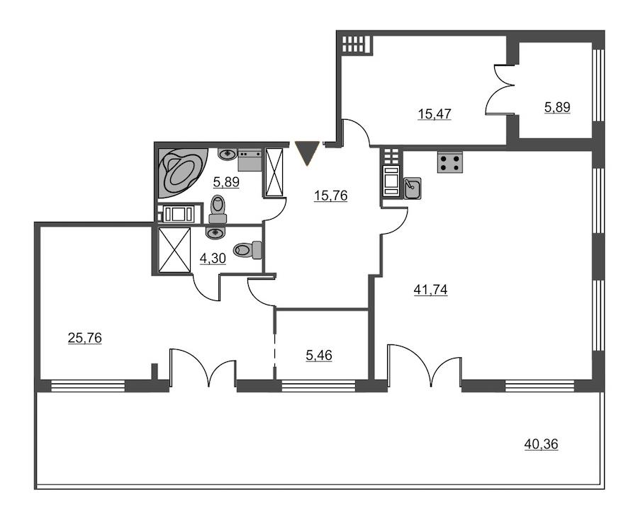2-комнатная 114 м<sup>2</sup> на 7 этаже