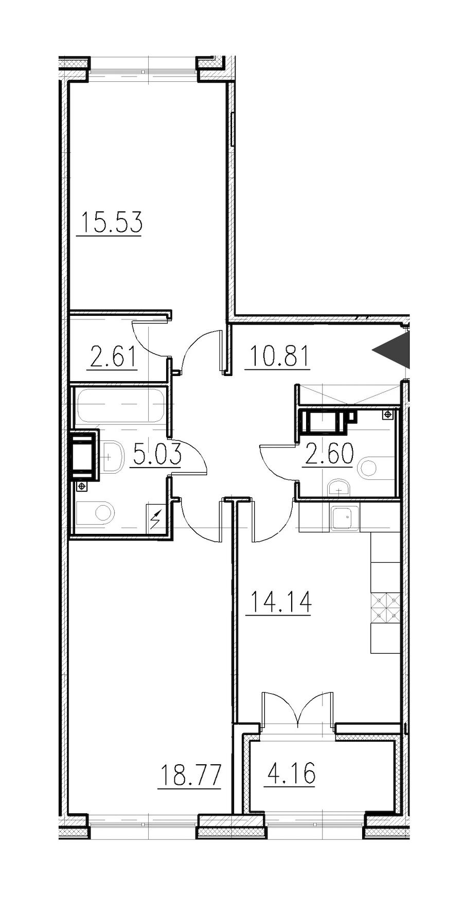 2-комнатная 69 м<sup>2</sup> на 1 этаже