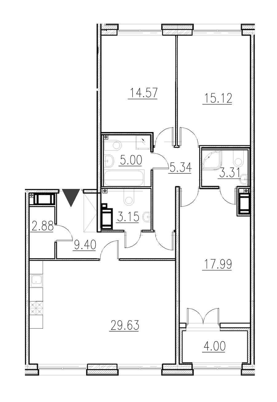 3-комнатная 106 м<sup>2</sup> на 1 этаже