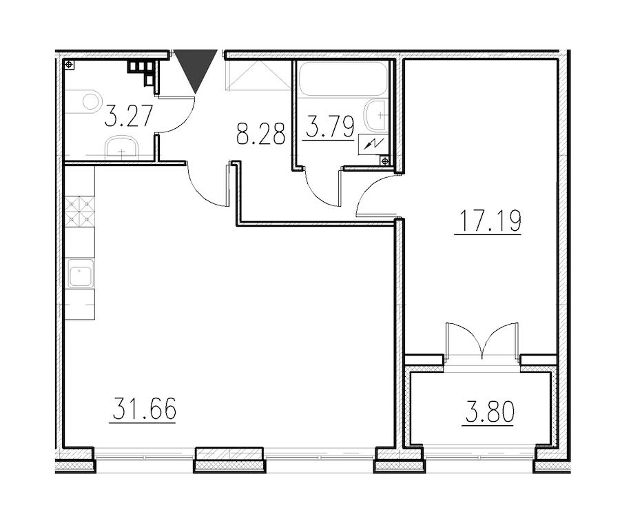 1-комнатная 64 м<sup>2</sup> на 1 этаже