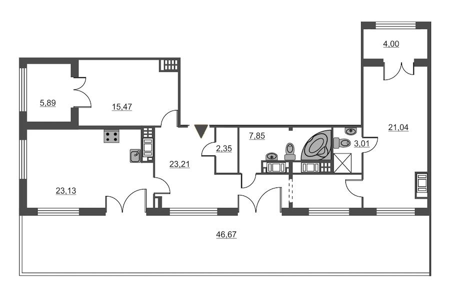 2-комнатная 96 м<sup>2</sup> на 8 этаже