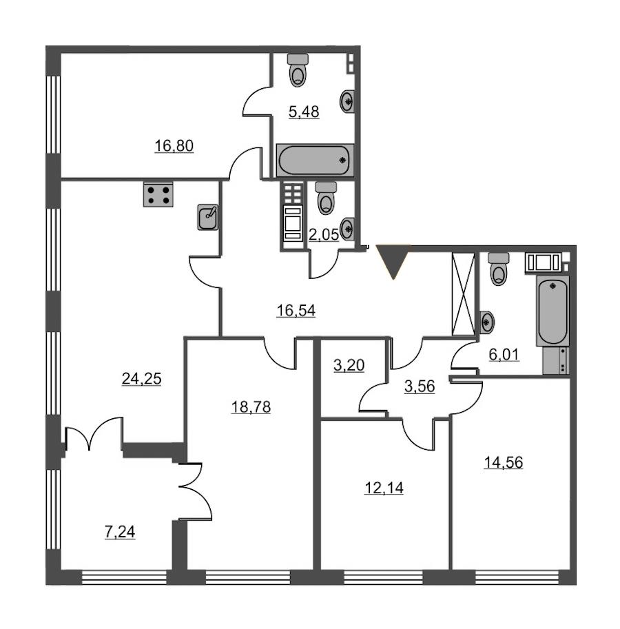 4-комнатная 123 м<sup>2</sup> на 2 этаже