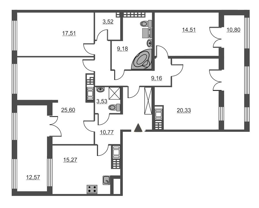 4-комнатная 129 м<sup>2</sup> на 8 этаже