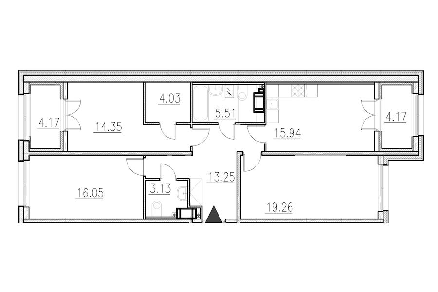 3-комнатная 91 м<sup>2</sup> на 1 этаже