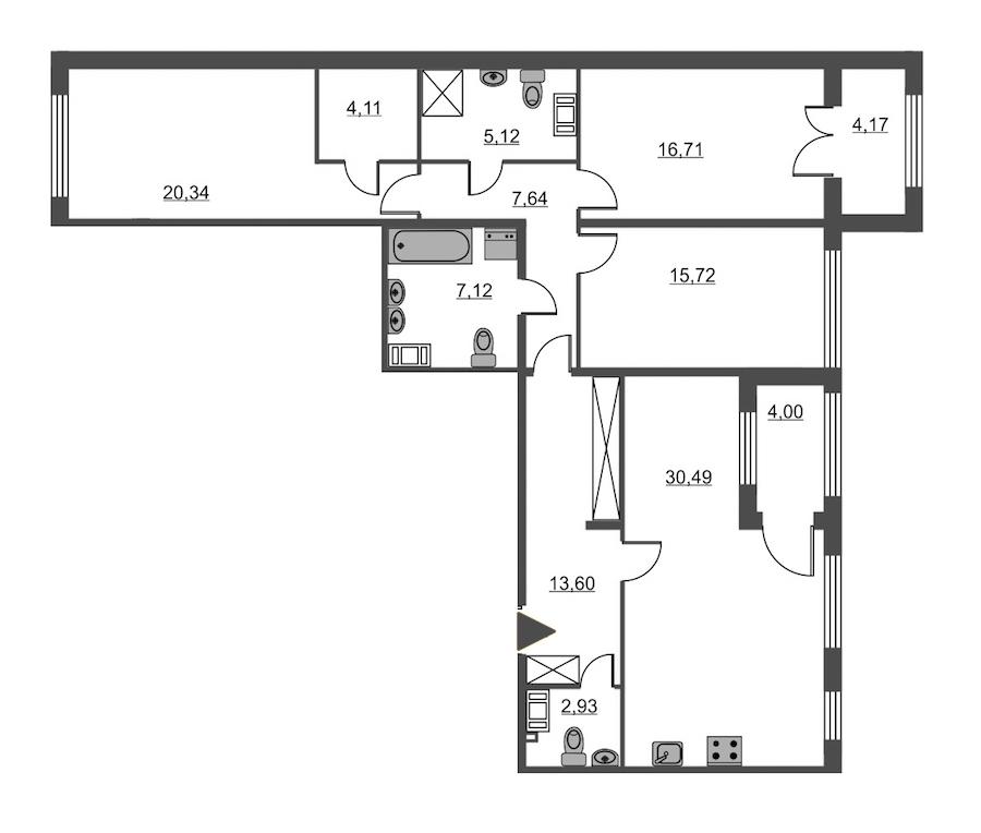 3-комнатная 123 м<sup>2</sup> на 2 этаже