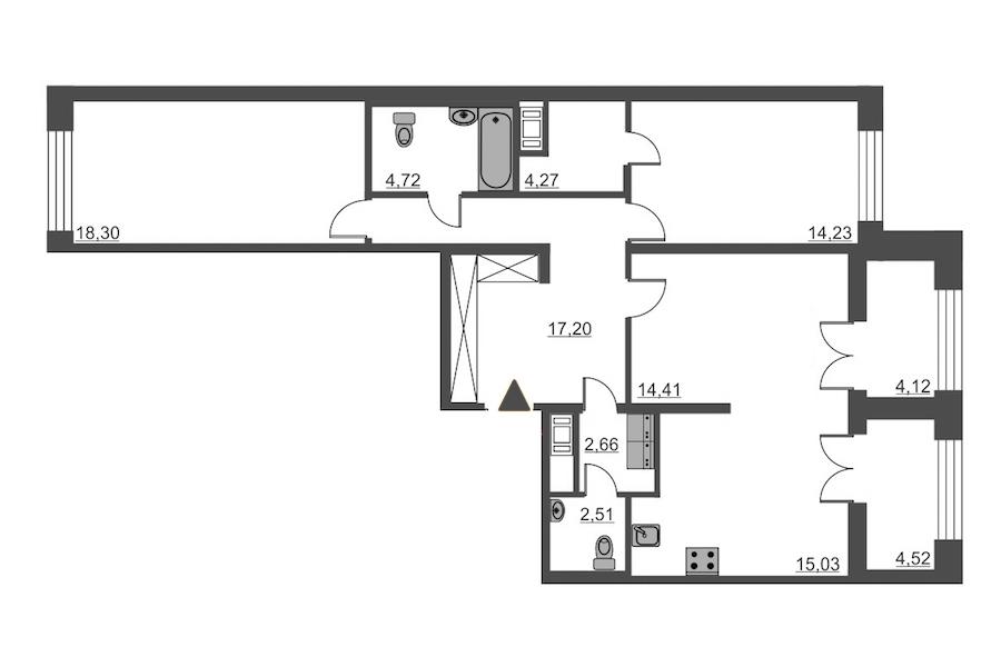 2-комнатная 93 м<sup>2</sup> на 3 этаже